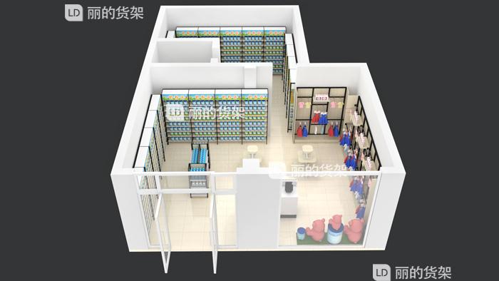55平方母嬰店貨架布局陳列效果圖